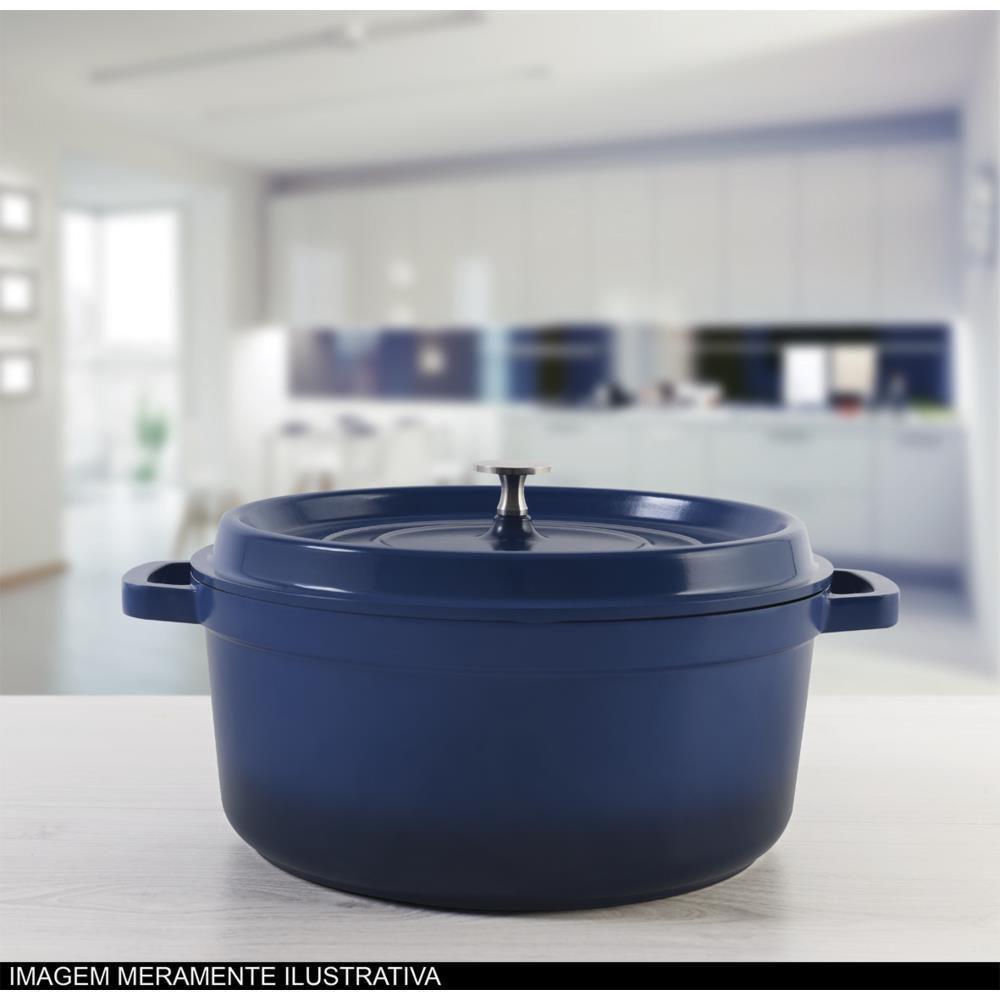 Caçarola Redonda Brinox Grand Gourmet Alumínio 4,2 Litros Azul