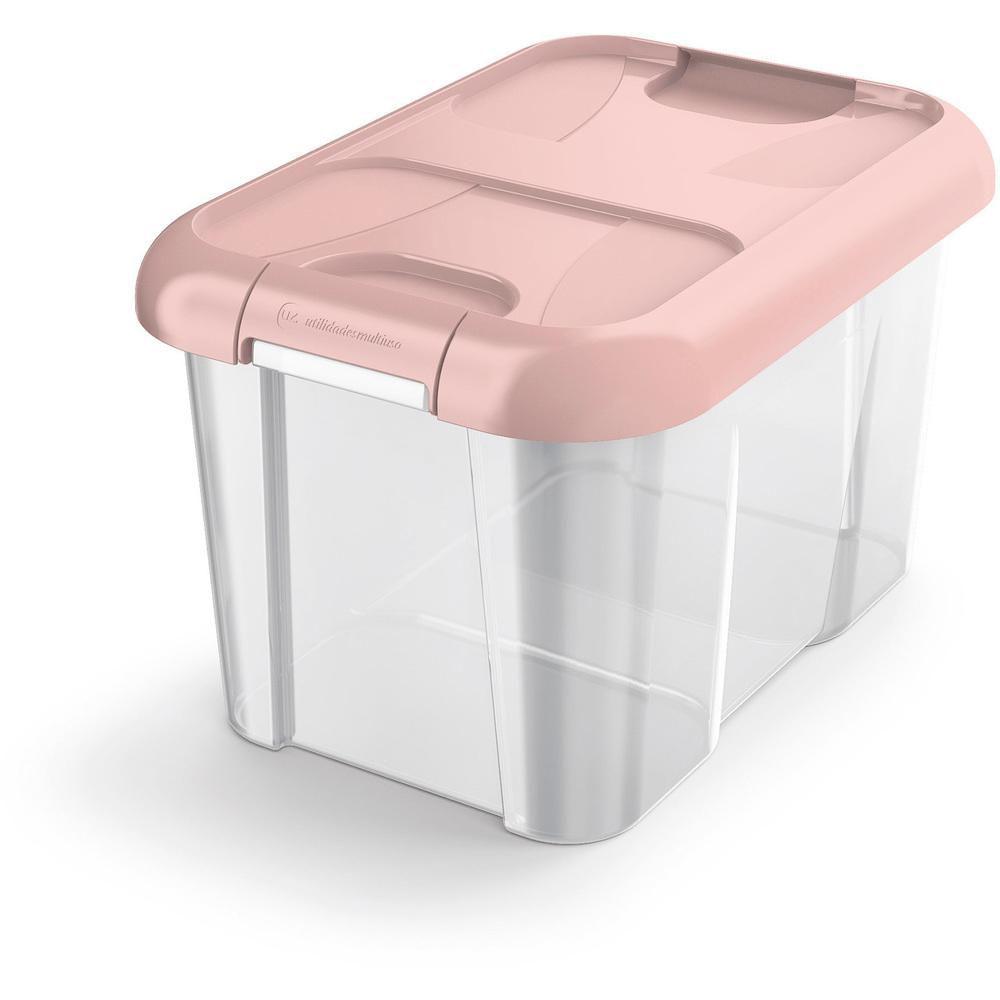 Caixa Organizadora 10 L em Polipropileno Rosa UZ