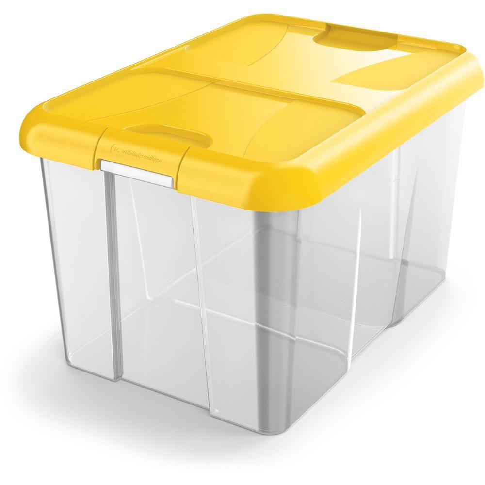 Caixa Organizadora 22 L em Polipropileno Amarela UZ
