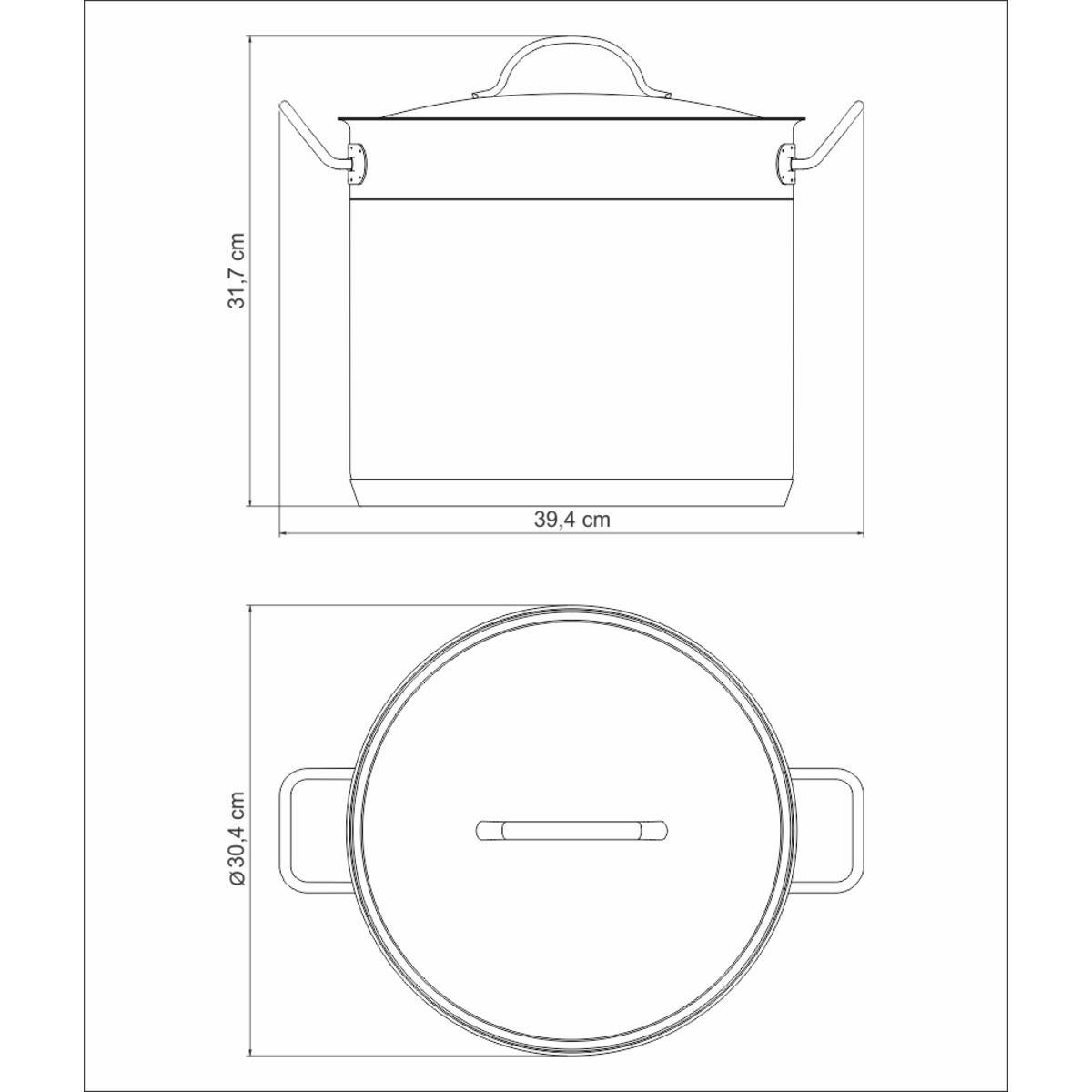Caldeirão Tramontina Professional Aço Inox Fundo 28cm 15,7L