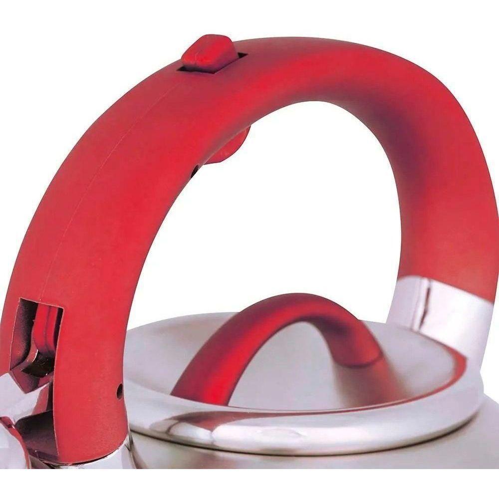 Chaleira Dialetta 3Litros Aço Inox Fundo Triplo Vermelha Mor
