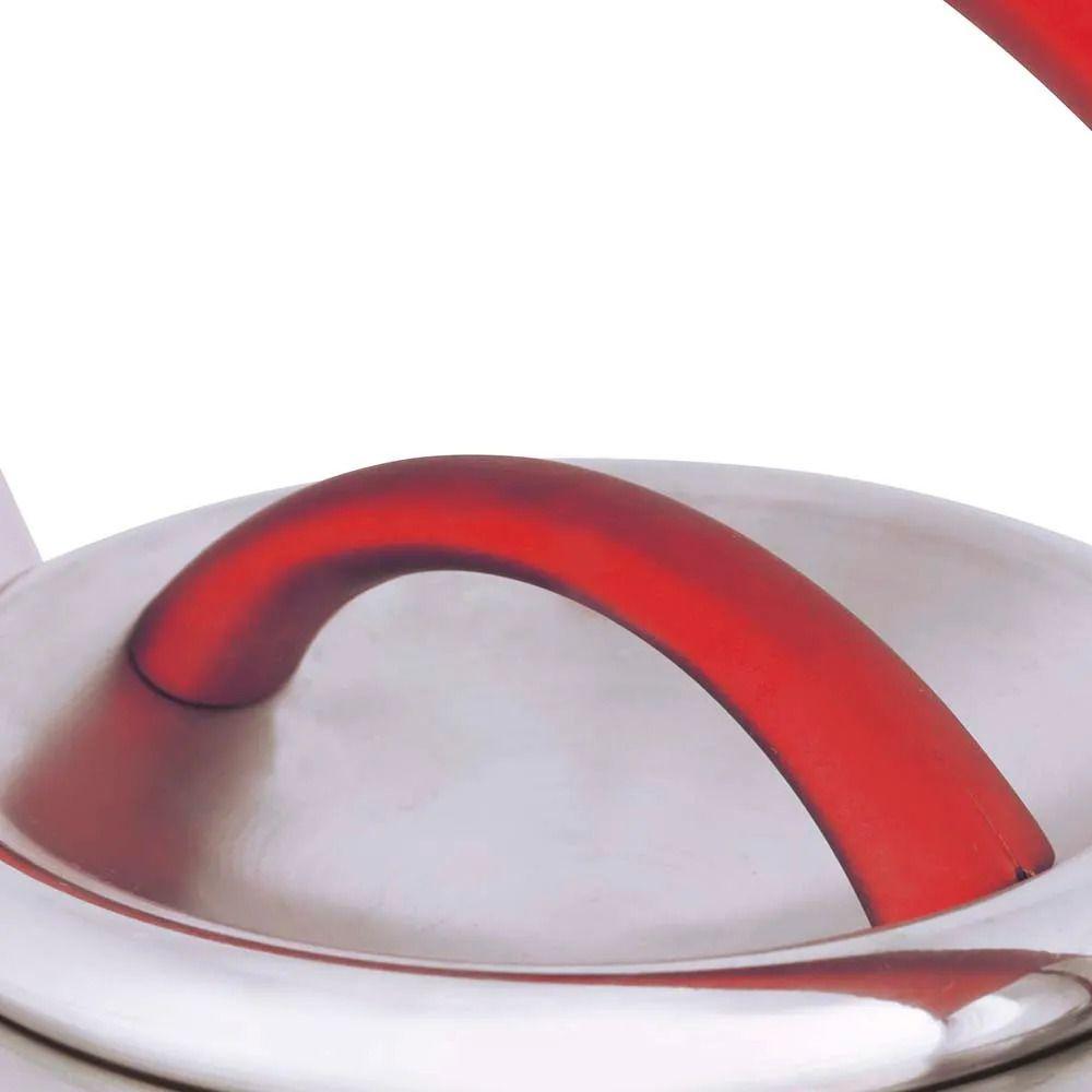 Chaleira Diletta 3 Litros Fundo Triplo Aço Inox Vermelha Mor