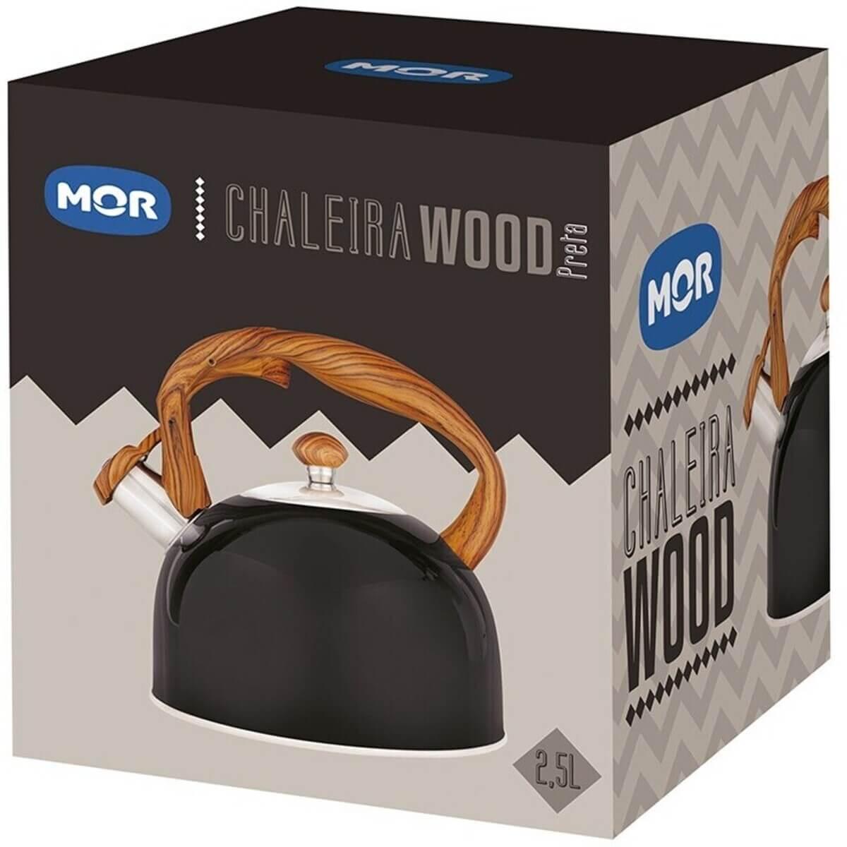 Chaleira Inox Moderna com Apito Wood Preta 2,5 Litros Mor