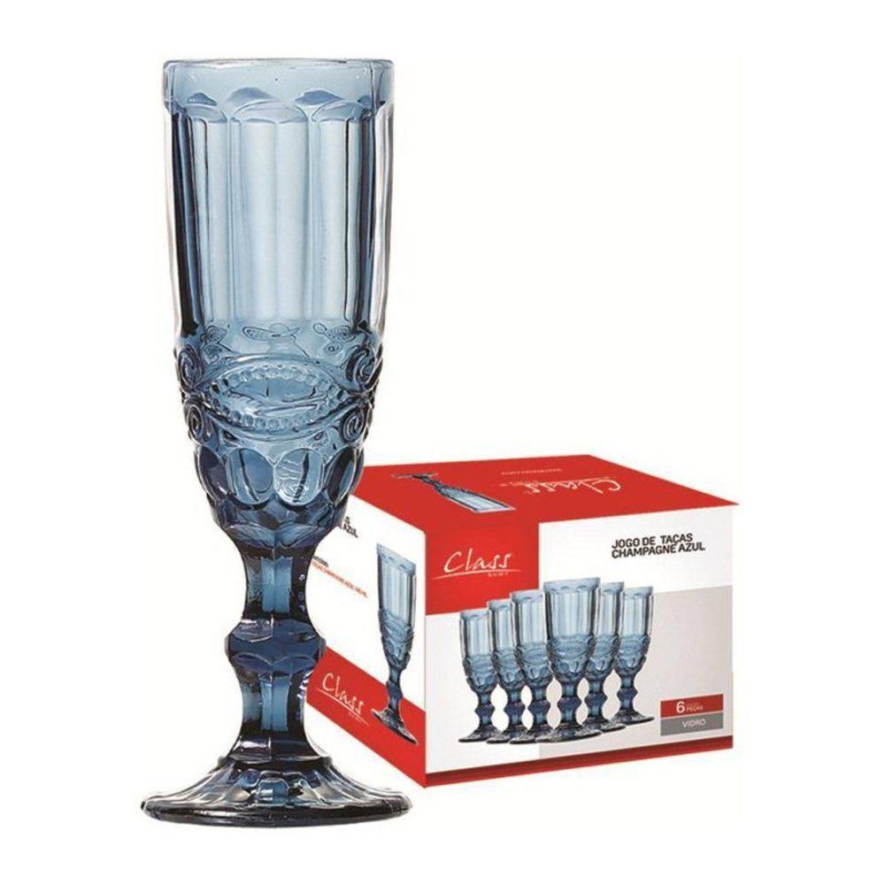 Conjunto de 6 Taças para Champagne 140ml Azul 485 Class Home
