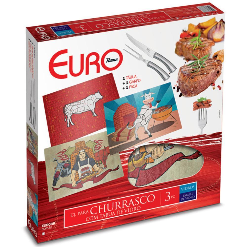 Conjunto de Churrasco 3 Peças com Tábua de Vaca Euro