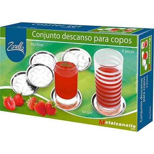 Conjunto de Descanso para Copos Inox 6 Peças Zanella