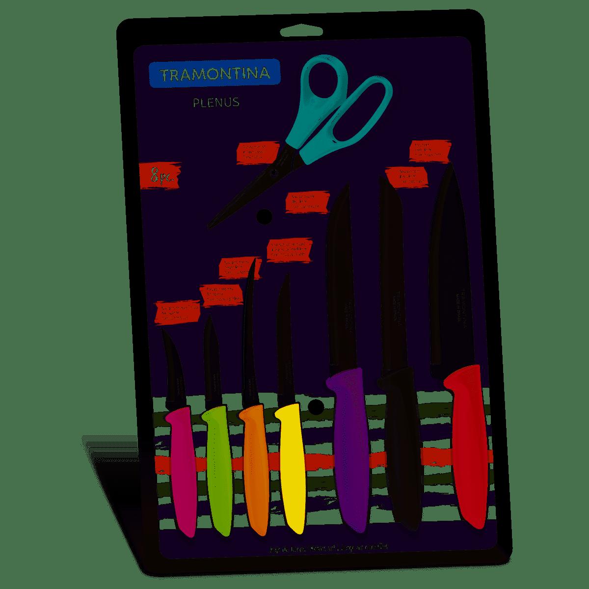 Conjunto De Facas Tramontina Plenus, 8 Peças Em Inox - 23498/917