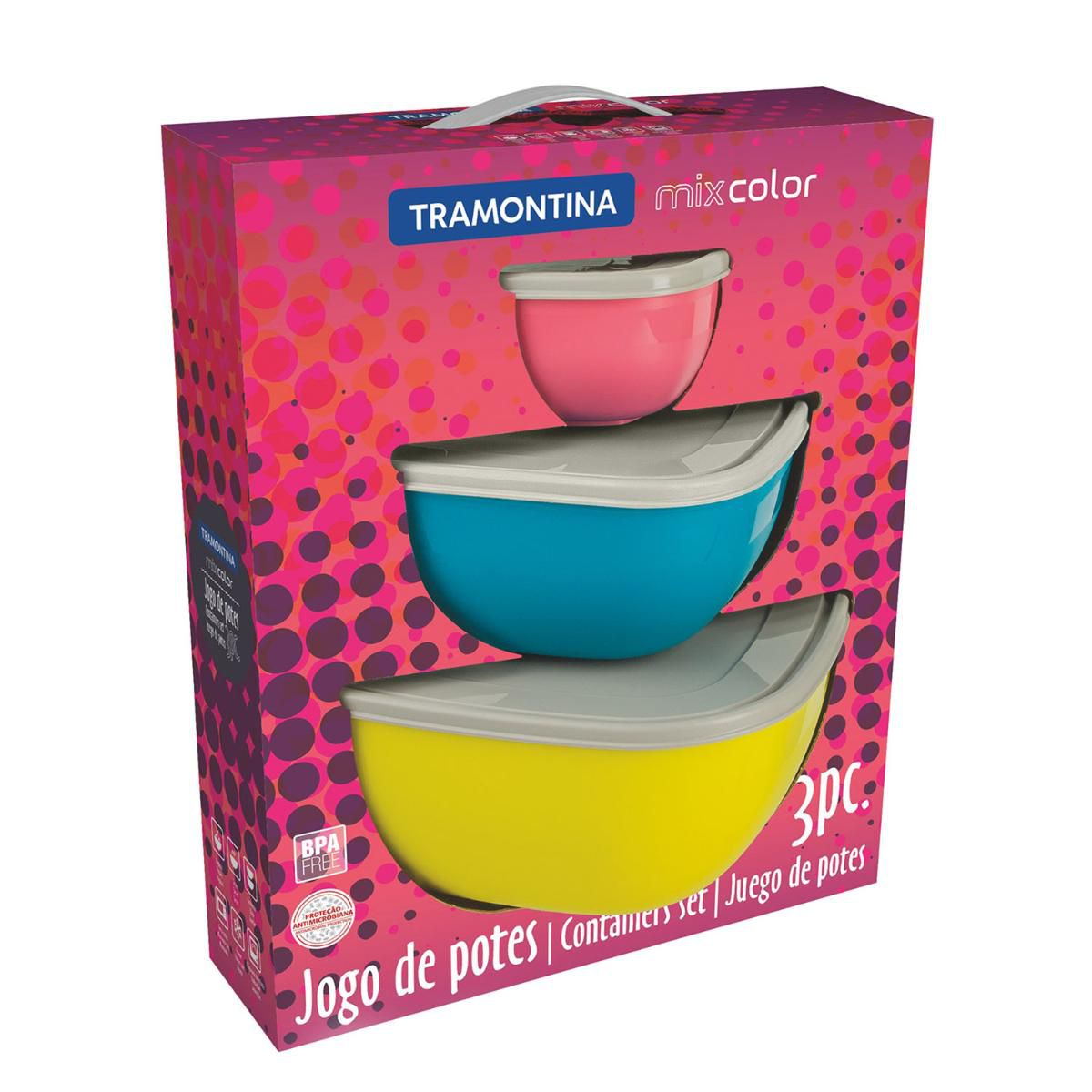 Conjunto De Potes 3 Peças Mixcolor 25099953 Tramontina