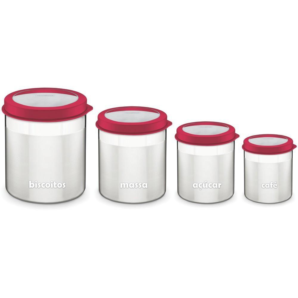 Conjunto de Potes Inox 4 Peças Vermelho Cucina Tramontina