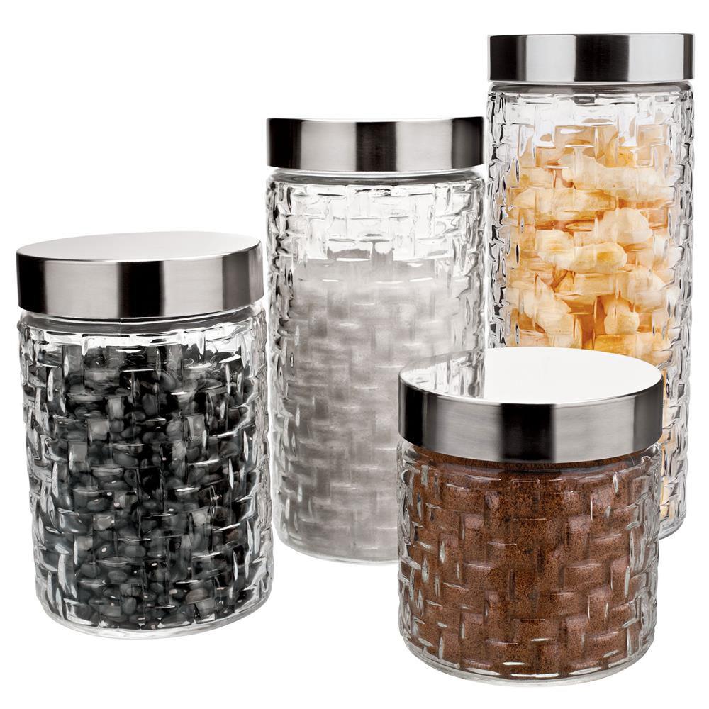Conjunto de Potes Redondos Rattan em Vidro e Inox 4 Peças