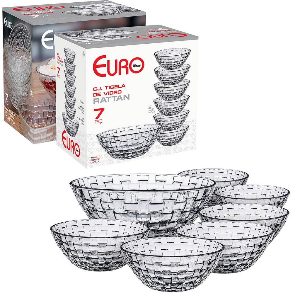 Conjunto de Tigelas de Vidro Rattan 7 Peças Euro