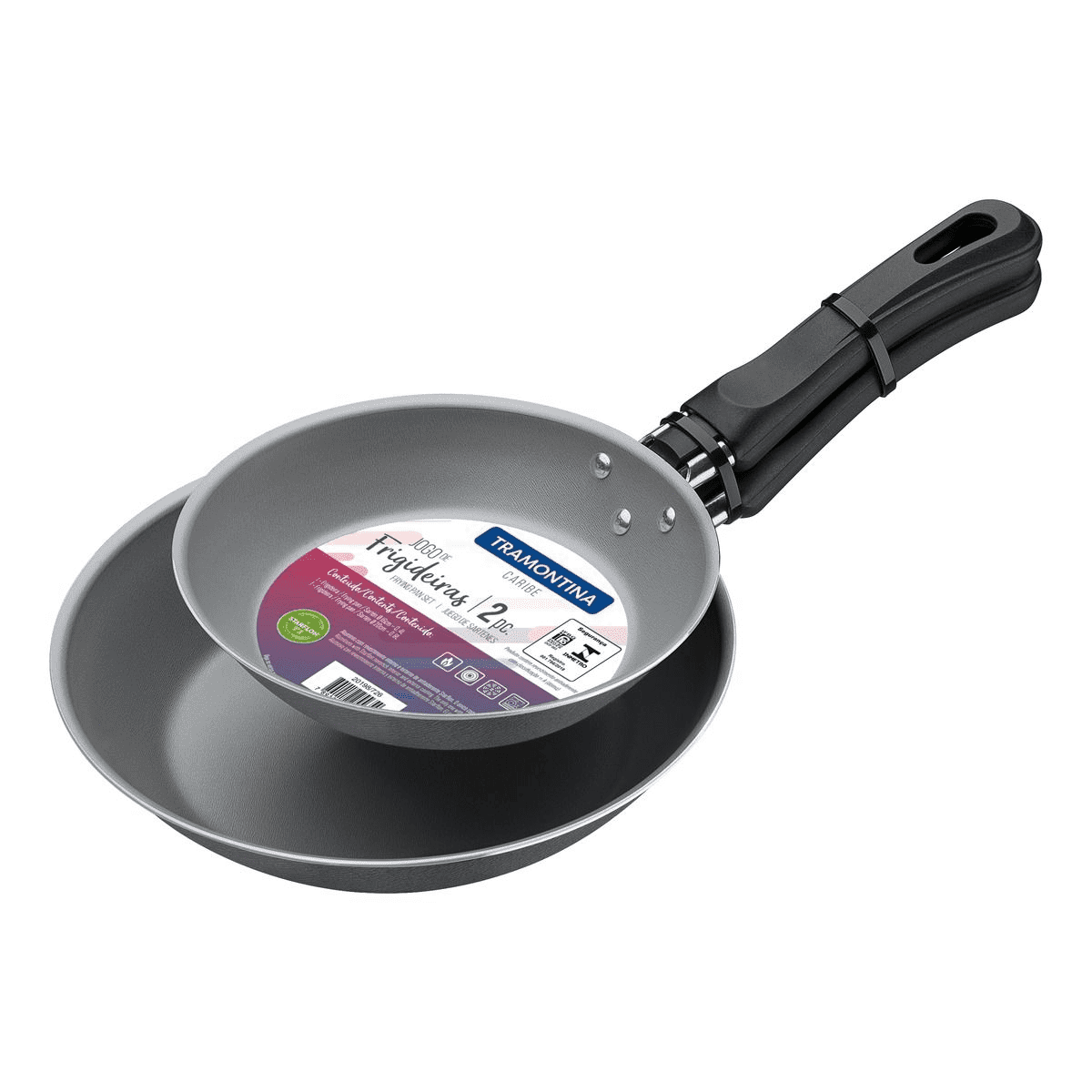 Conjunto Frigideiras Caribe 2 Peças Cinza Tramontina