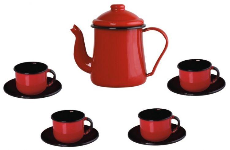Conjunto para Café Bule 1Litro Xícaras 120ml Vermelho Ewel