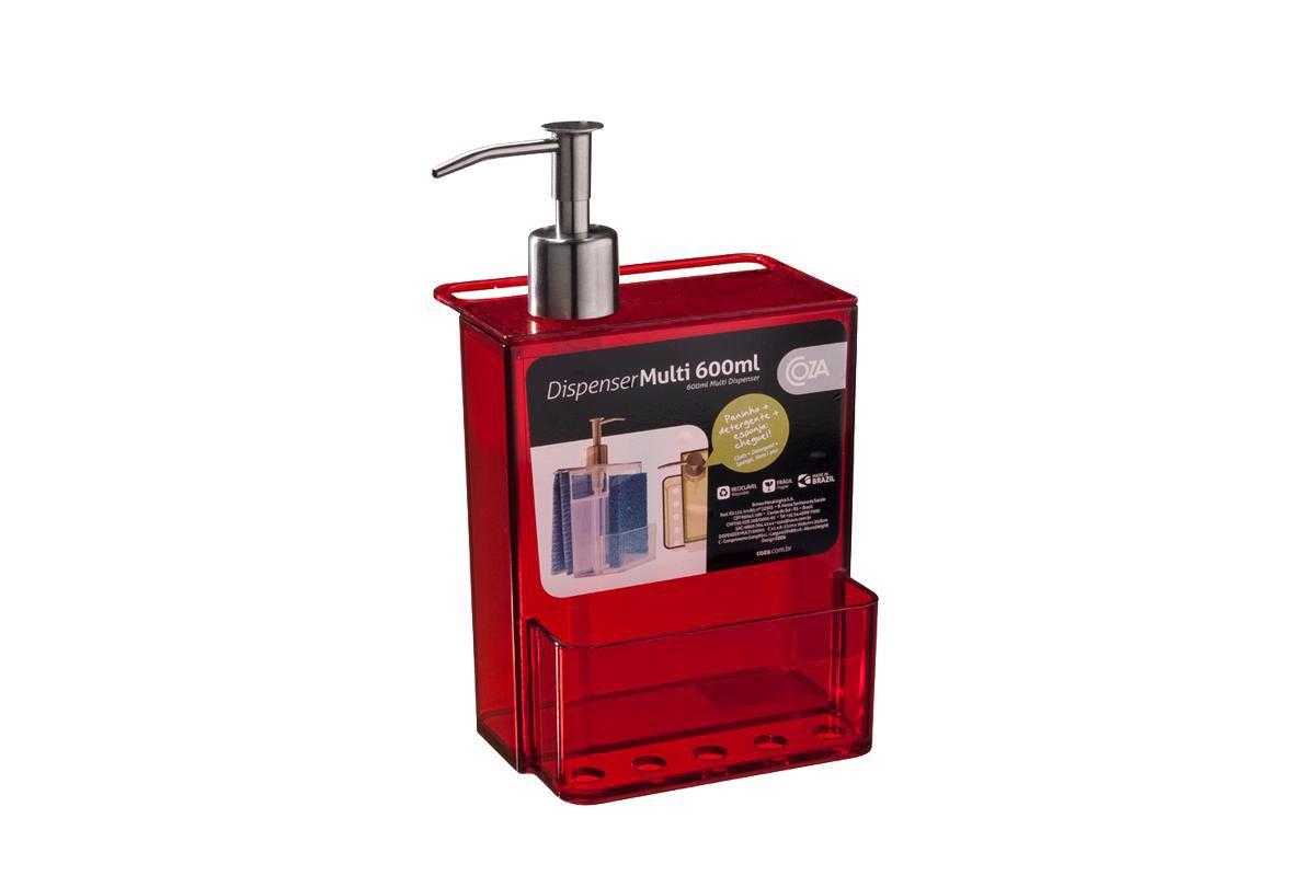 Dispenser Multi - Retrô 12 x 10,6 x 20,8 cm 600 ml Vermelho Transparente Coza