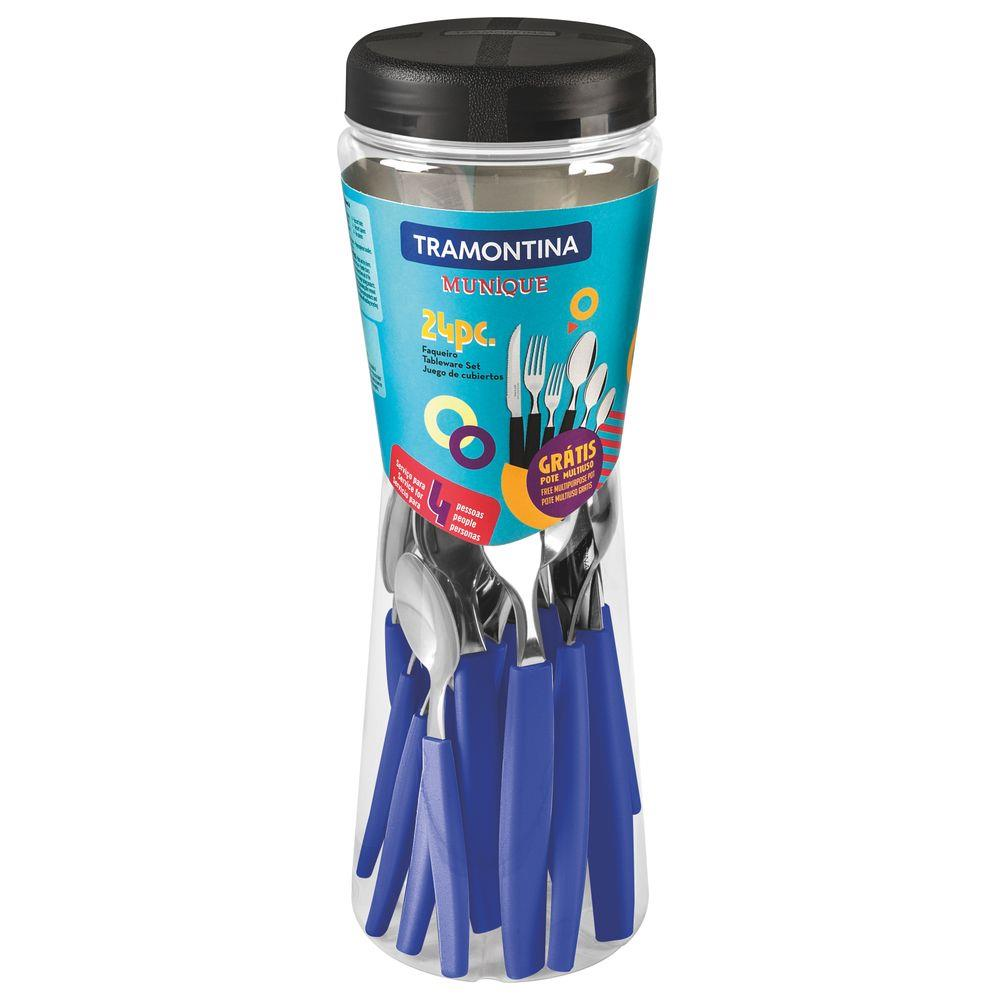 Faqueiro Tramontina com Facas Churrasco Munique 24Pç Azul