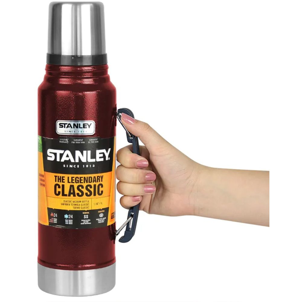 Garrafa Stanley 24 Horas Quente e Frio 1L Inox Vermelha