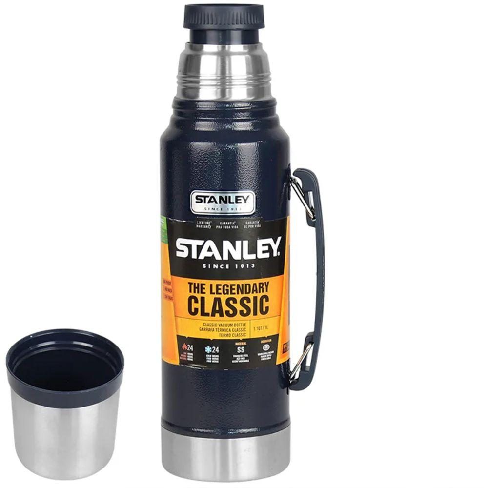 Garrafa Térmica para Aventura Stanley 1 Litros Azul Aço Inox