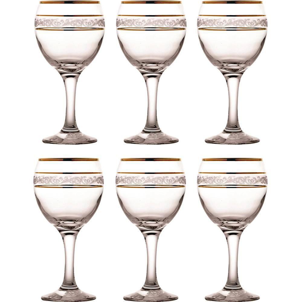 Jogo de 6 Taças Misket Sultan Água/ Vinho Tinto 260ml Mimo Style