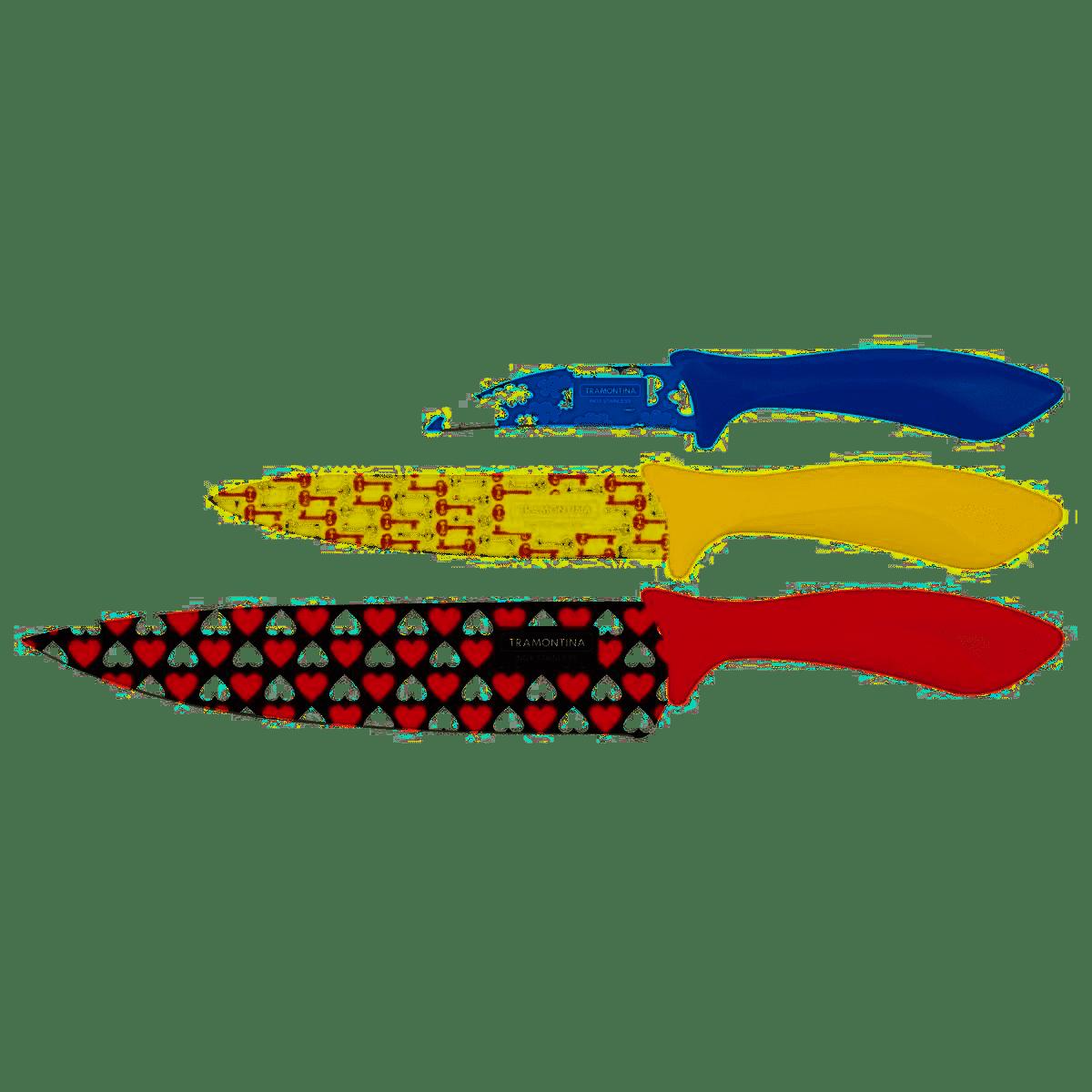 Jogo de Facas Tramontina Colorcurt 3 Peças Inox