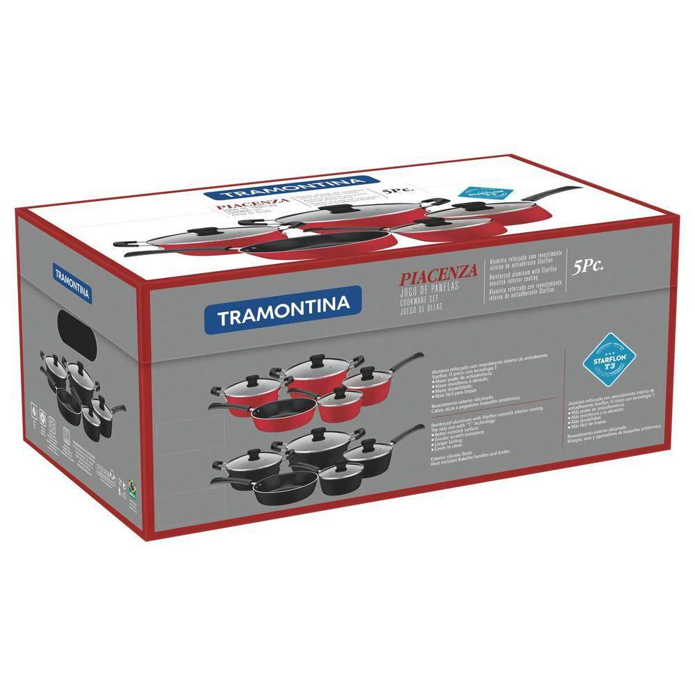 Jogo de Panelas de Alumínio com Revestimento Antiaderente 5 Peças Piacenza Vermelho Tramontina