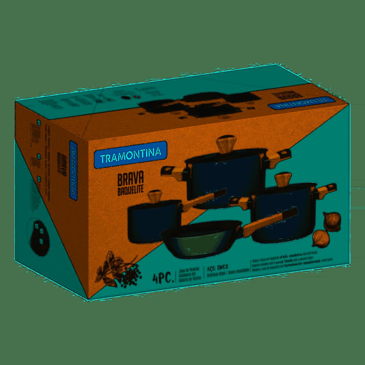 Jogo de Panelas Inox Brava Soft Touch 4 Peças