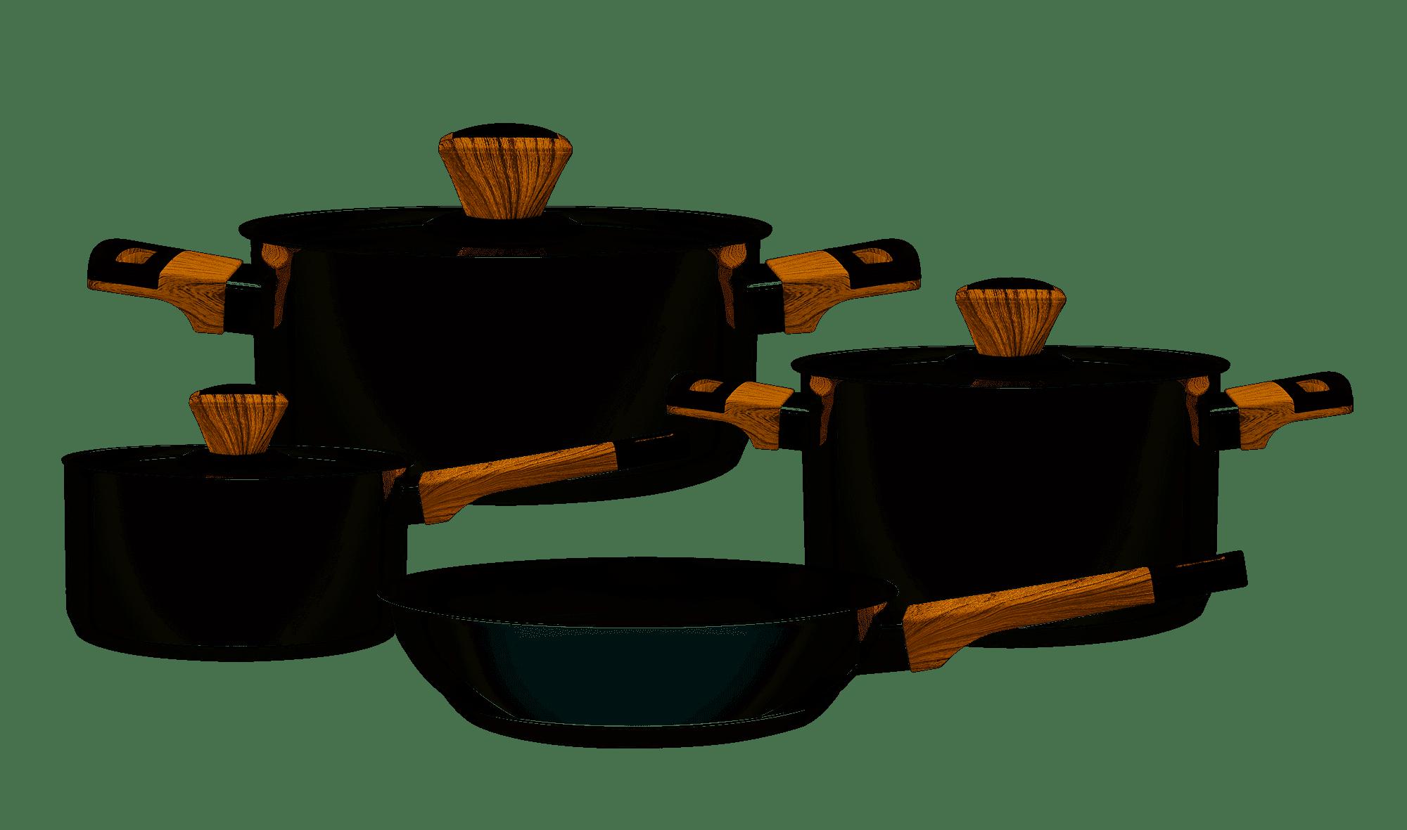 Jogo de Panelas Tramontina Inox Brava Soft Touch 4 Peças