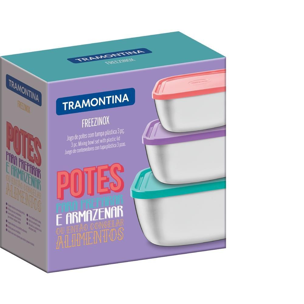 Jogo de Potes Inox com Tampa Plástica 3 Peças CUCINA