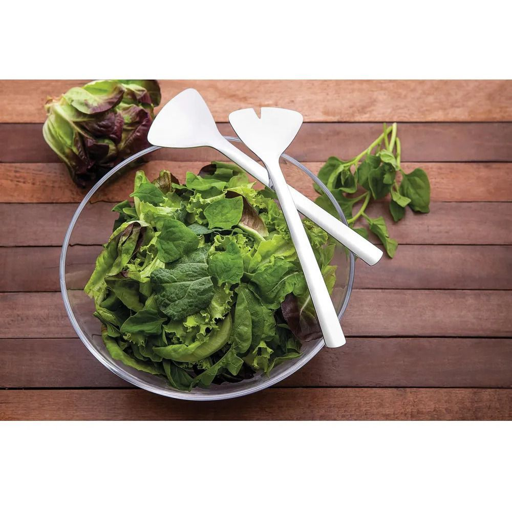 Jogo para Salada em Cristal com Talheres Inox 3 Peças Tramontina