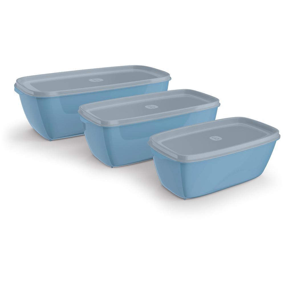 Kit 3 Potes Retangulares em Polipropileno Azul UZ