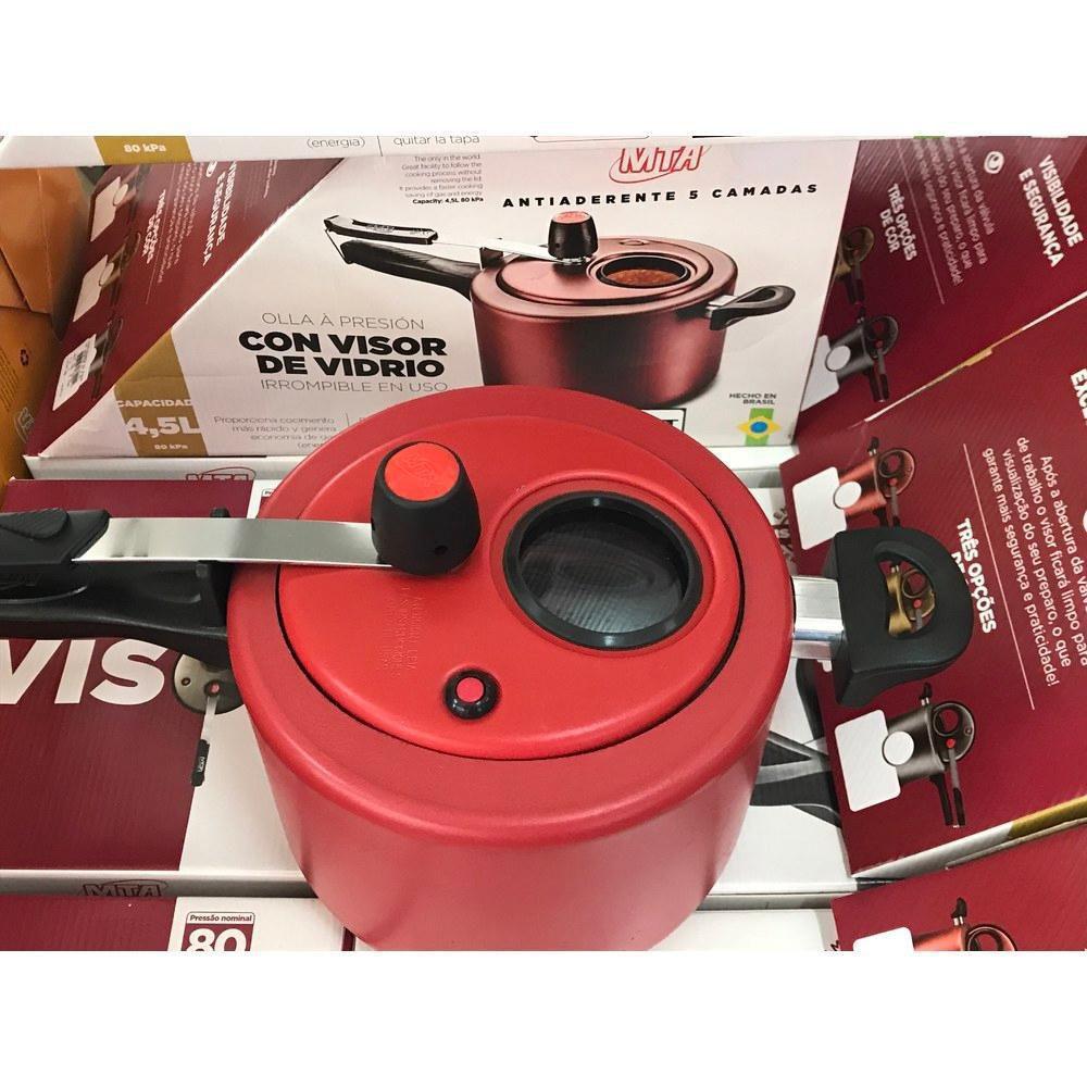 Kit com 2 Panelas de Pressão 4,5 Litros com Visor Vermelha Mta