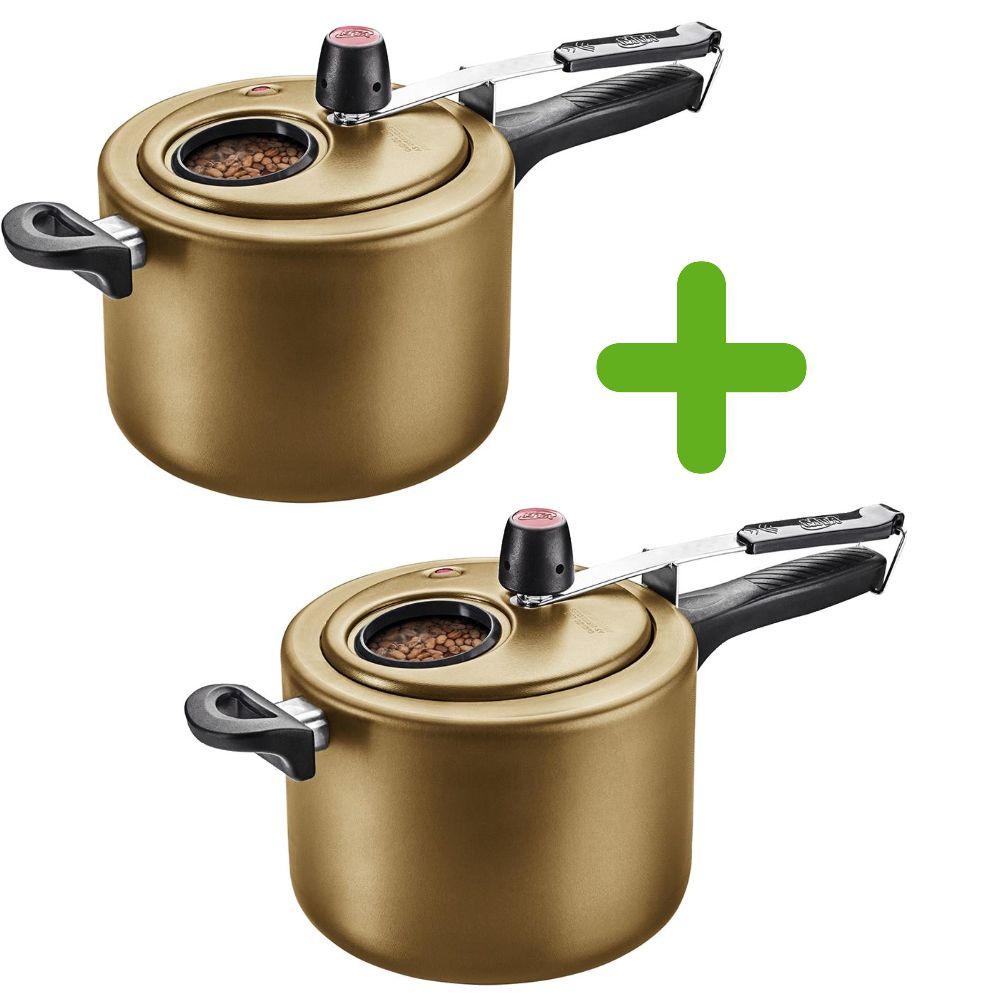 Kit com 2 Panelas de Pressão Gold 4,5 Litros com Visor Mta