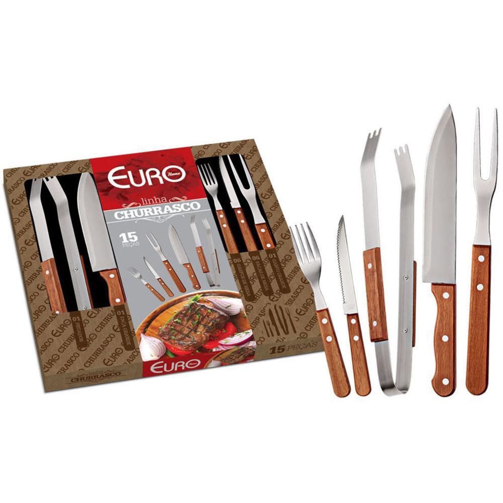 Kit para Churrasco 15 Peças Euro