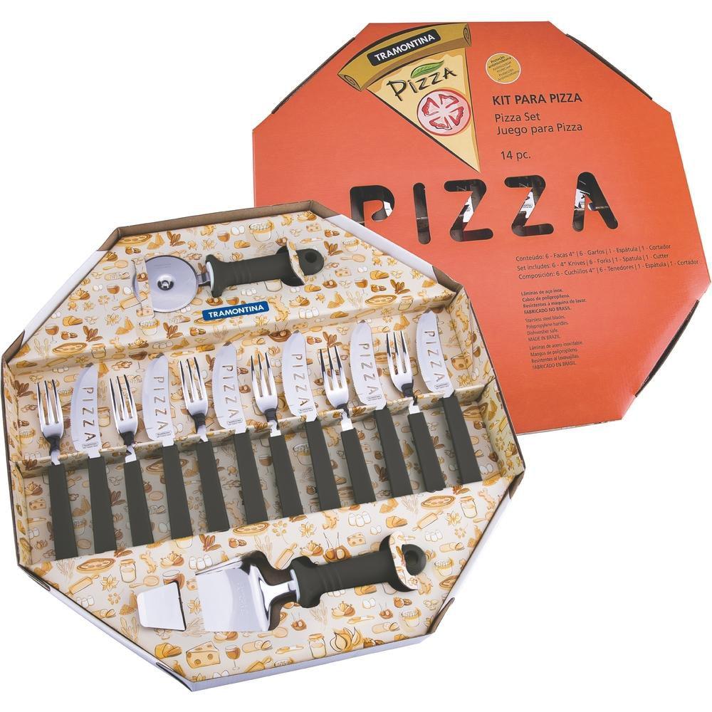 Kit para Pizza 14 Peças Preta Tramontina