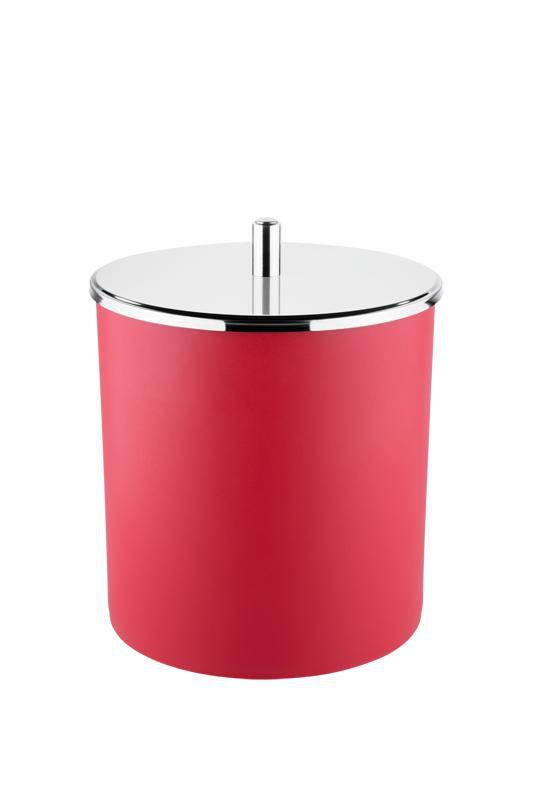 Lixeira PP com Tampa Inox  Ø 18,5x23 cm Vermelho