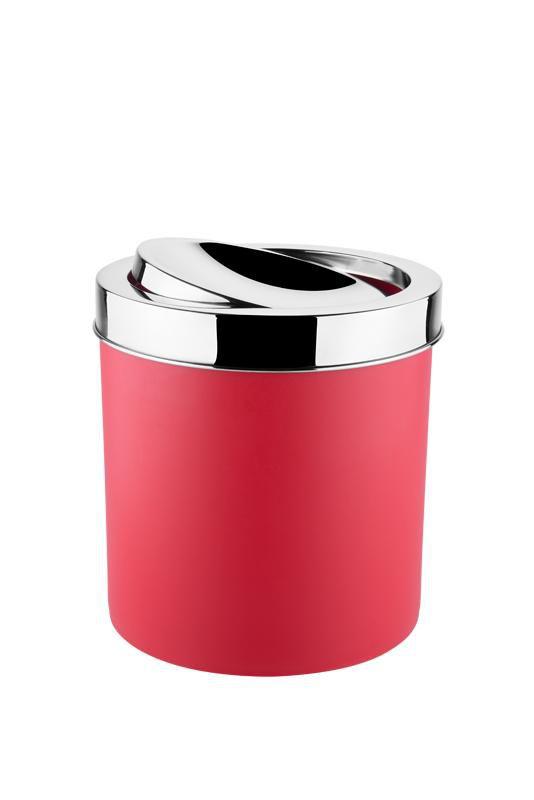Lixeira Tampa Basculante Inox 5,4 Litros Decorline Lixeiras Ø 18,5 x 23 cm Vermelho