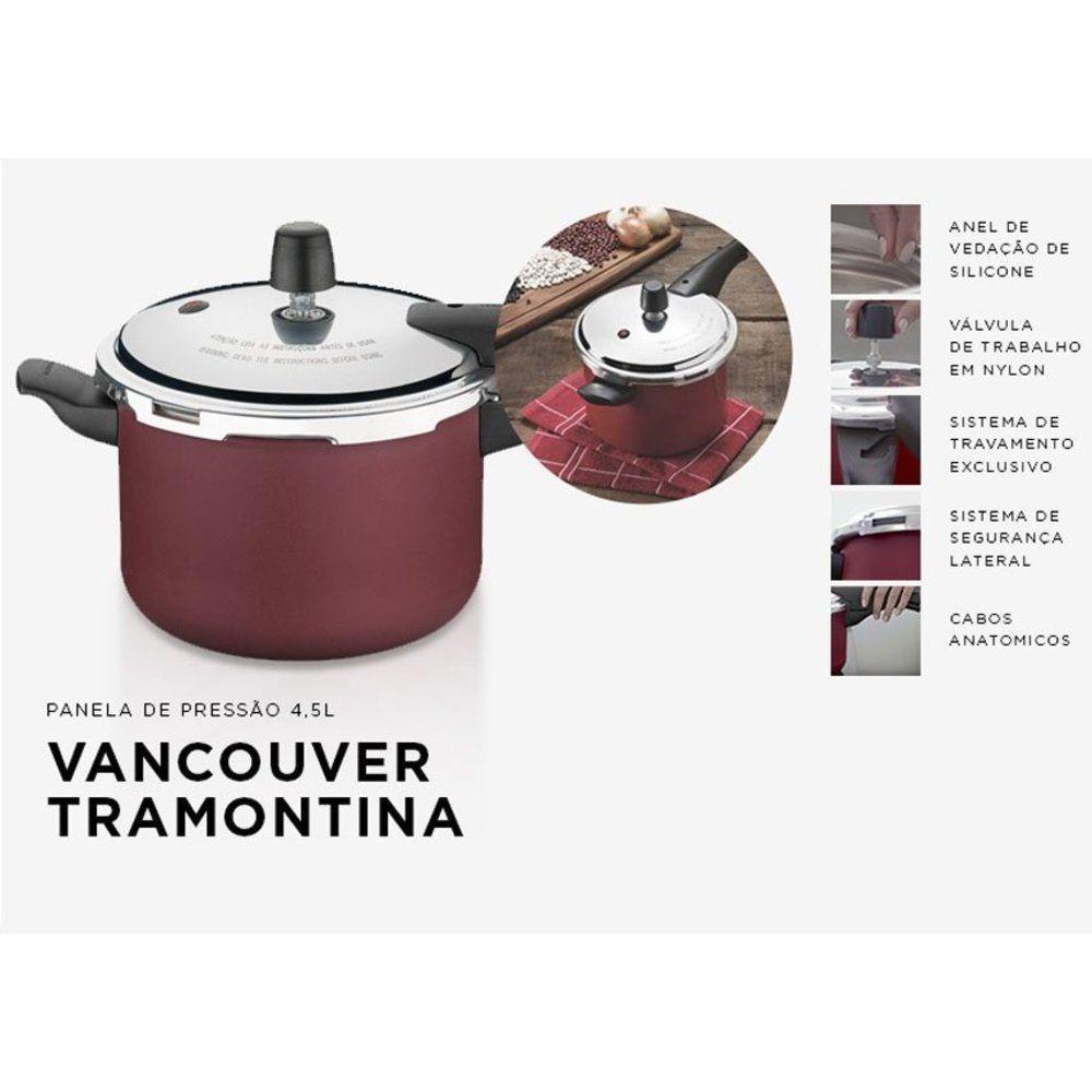 Panela de Pressão Vermelha Tramontina 4,5L Antiaderente