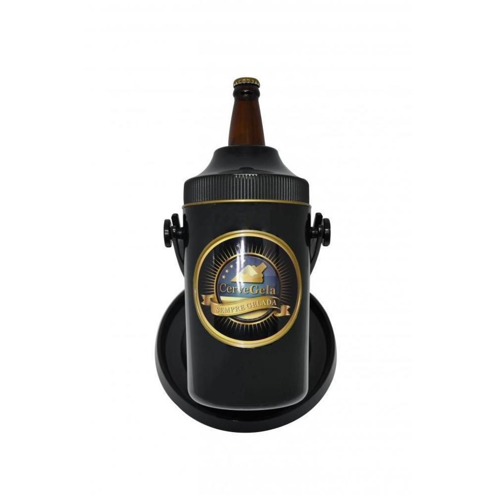 Porta Cerveja com Suporte Rotativo Preto e Dourado Cervegela