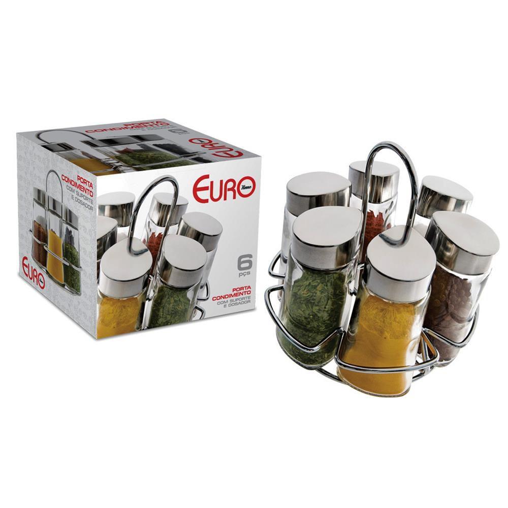 Porta Condimentos Hexa 6 Peças Inox/Transparente Euro