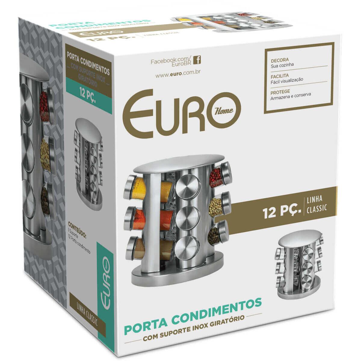 Porta Condimentos Suporte Giratório Aço Inox 12 Peças Euro