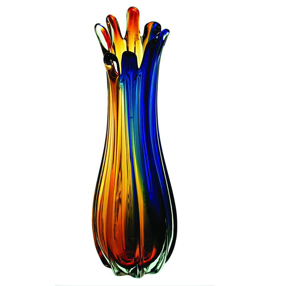 Vaso Azul e Amber 13x42 cm Class Home