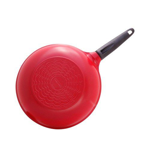 Wok Antiaderente Alumínio Cerâmica 30Cm Vermelha 4,7L