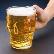 Caneca Chopp Cerveja Vidro Caveira Rock 450 ml
