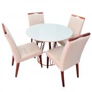 Conjunto Sala de Jantar Rubi Off White com 4 Cadeiras