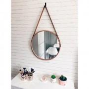 Espelho Redondo Decorativo com Moldura e Alça Cobre
