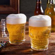 Kit Caneca Chopp Cerveja Vidro Caveira Rock 450 ml