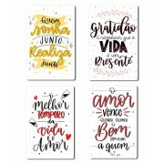 Kit com 4 Placas Decorativas Inspiradoras