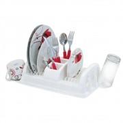 Kit para Piá Cozinha com Escorredor, Porta Detergente e Lixeira Cor Branca