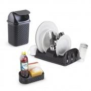 Kit para Piá Cozinha com Escorredor, Porta Detergente e Lixeira Cor Preta
