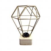 Luminária Diamante Metal Dourada