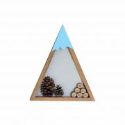 Nicho 29x25 cm Madeira Pinos Triangular Azul Bebê